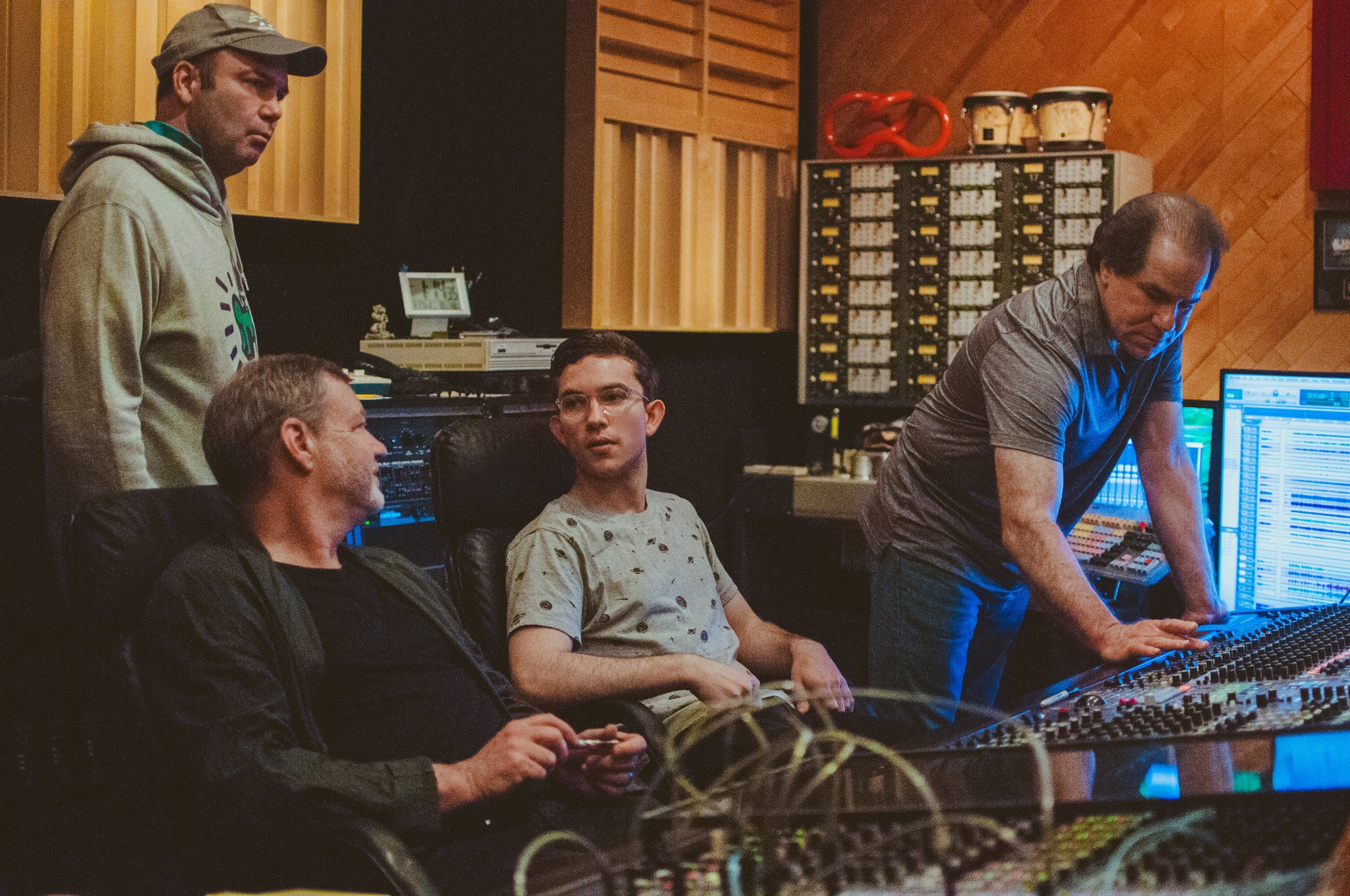 Left to right:Sean Wayland, Frank Kimbrough, Evan Harris, Mike Marciano behind the desk at Systems Two Studios