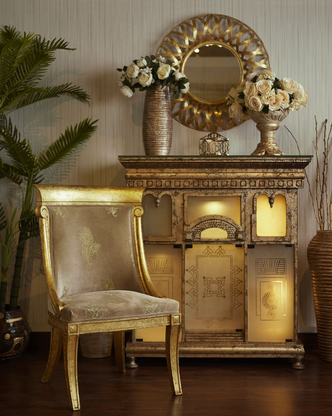 Distressed gold leafed Peacock Embroidered chair and Granada Palace with Kalamkaar Accessories.