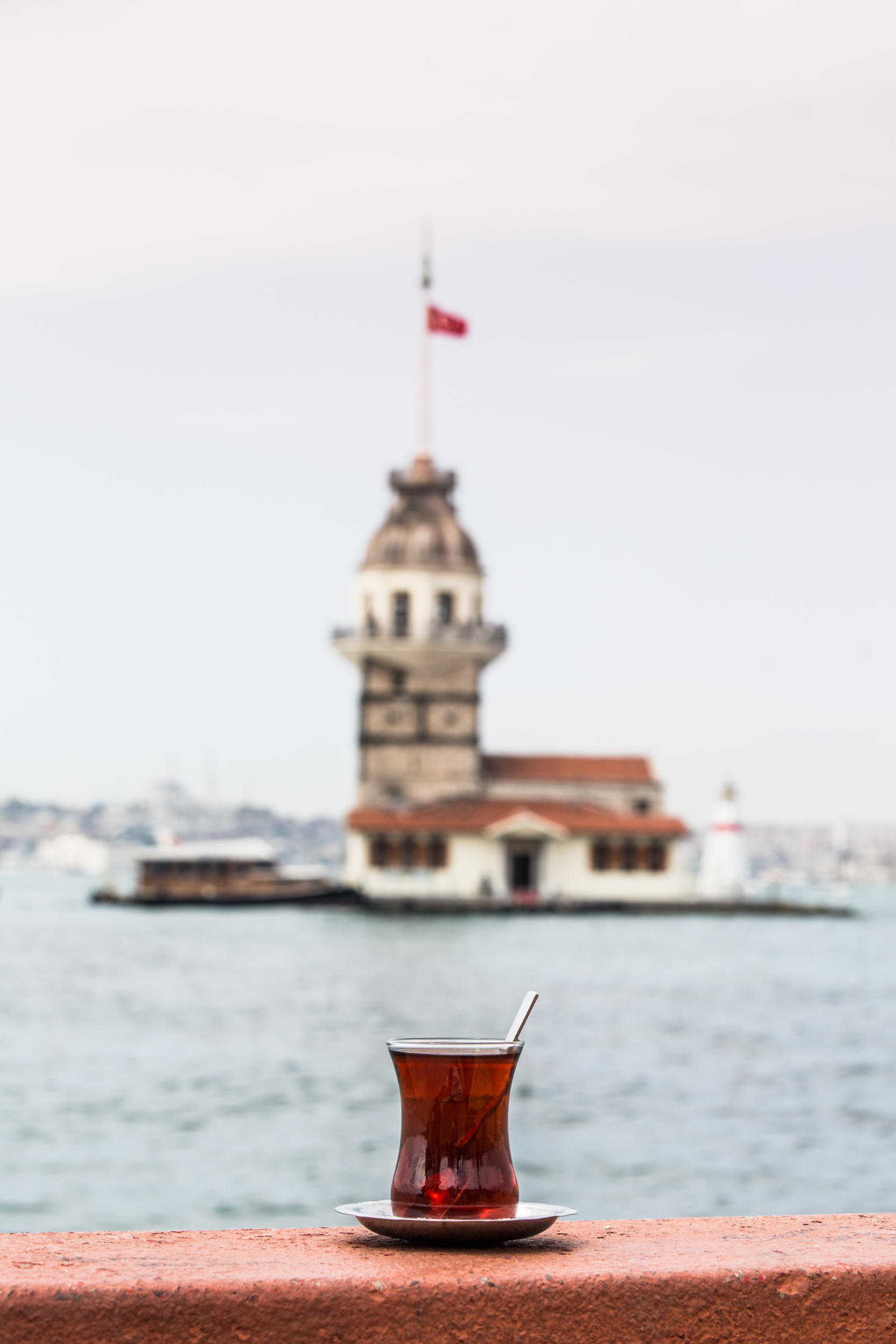 Another glass of chai with the Maiden's Tower in the distance