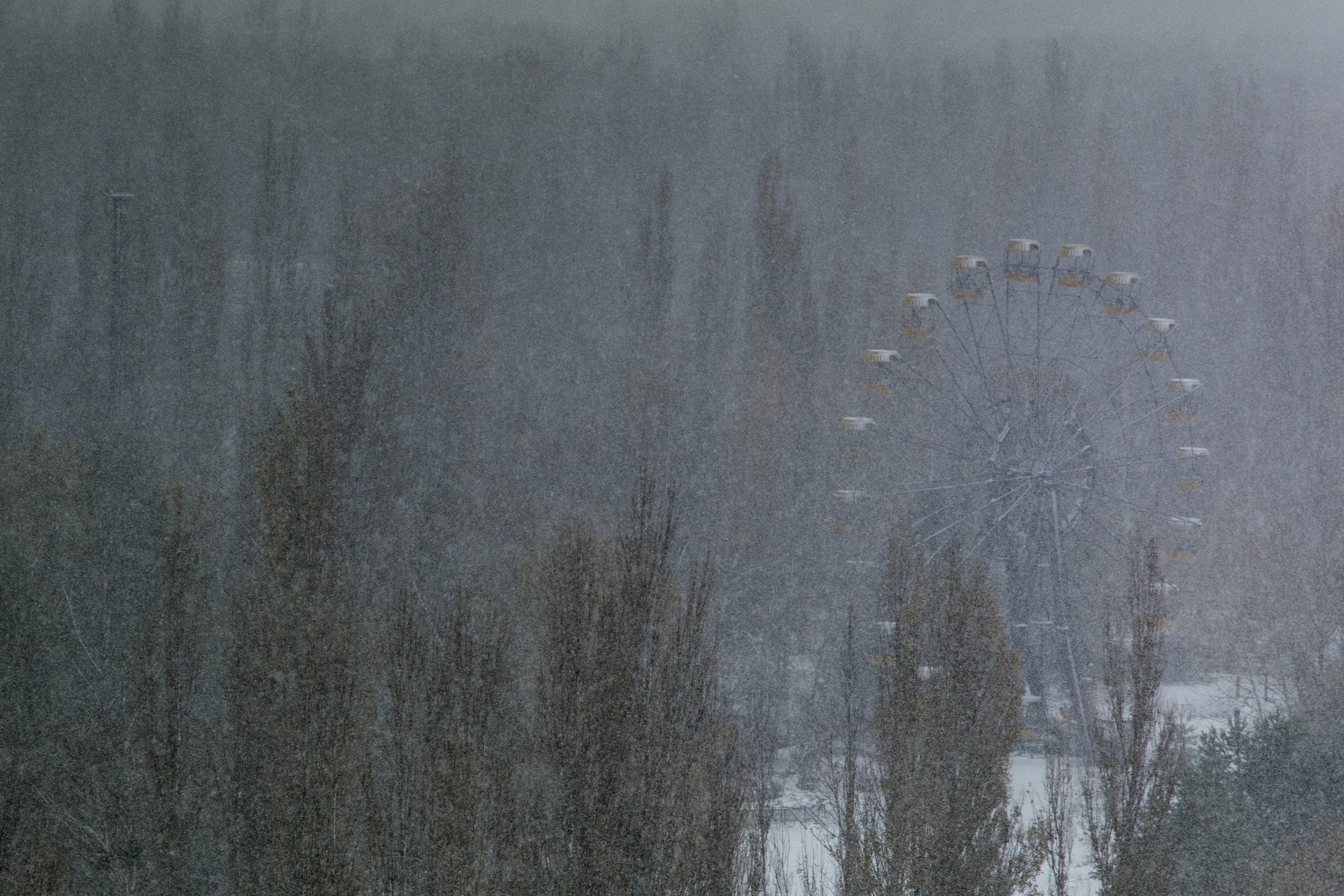 This abandoned Ferris wheel became a symbol of the ghost-town Prypyat. It never operated.