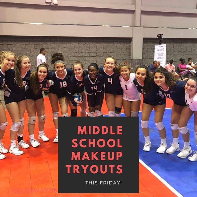 Missed the first round of tryouts last weekend? No problem! Attend our Middle School Make-Up Tryout tomorrow (Friday)! We are still looking for a few talented individuals to round out our rosters for the 2019-20 club seasons! #breakervolleyball