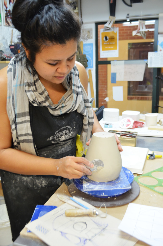 Diane works on the master form for Kalsada's custom pour-over