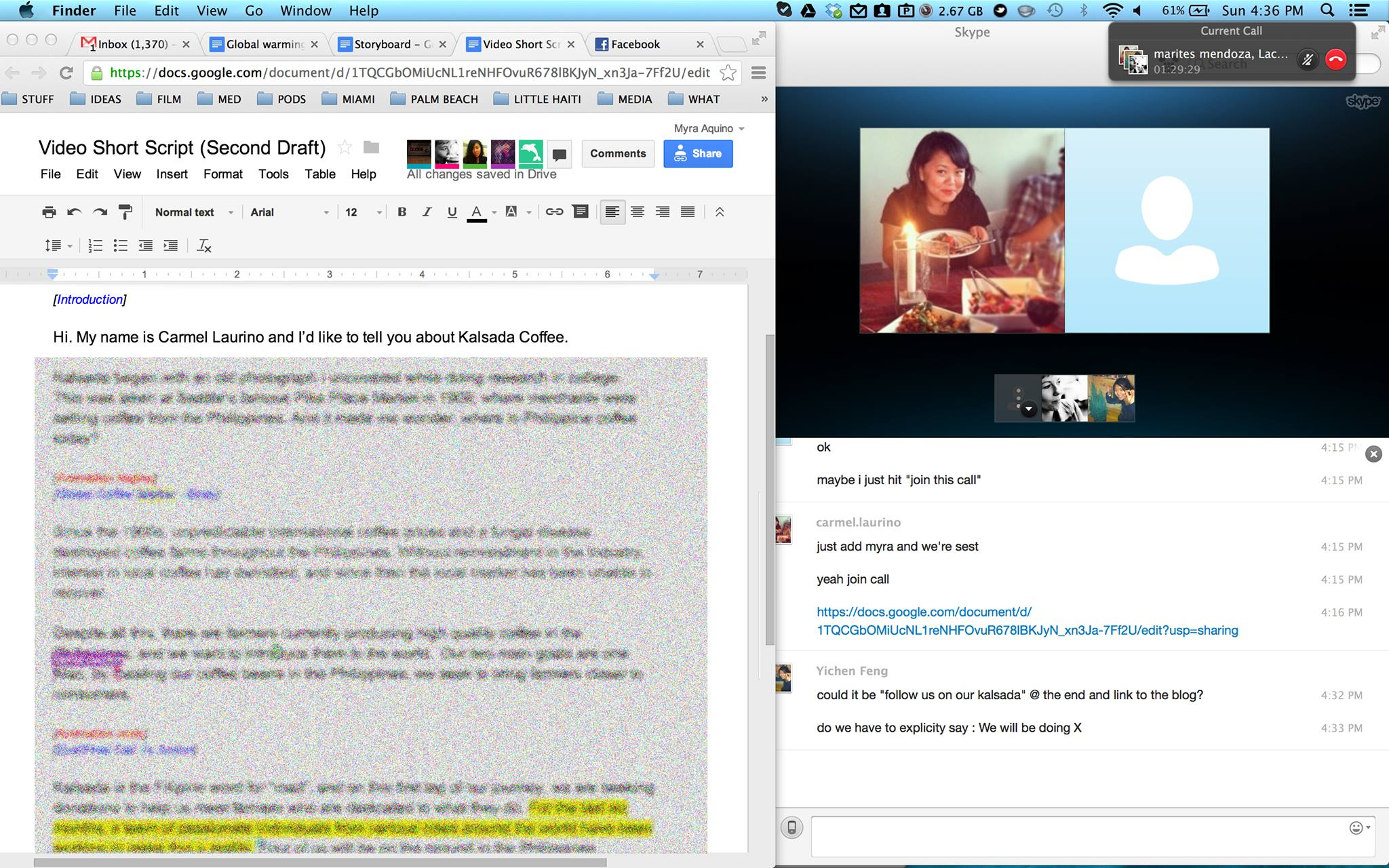 One of many Skype / Google Doc work dates connecting Seattle, Miami, LA, Manila, Paris.