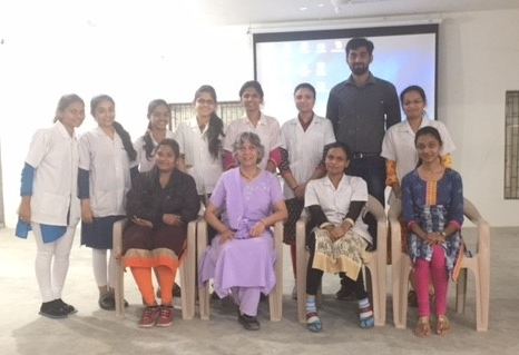 Asha Asher with post graduate students at Baroda.