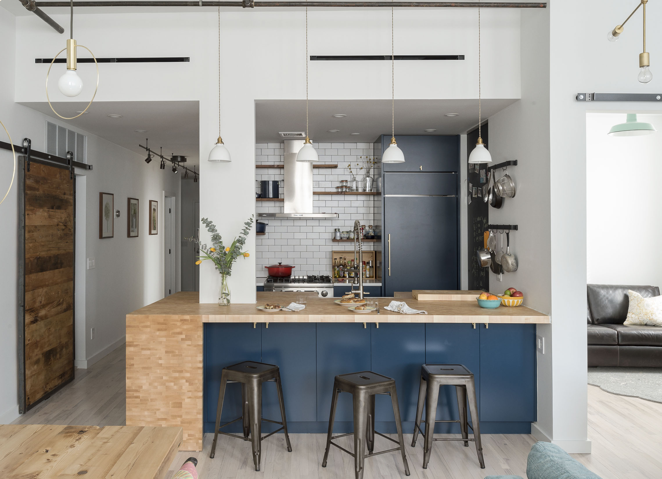 Boerum Hill Loft  Our first project in a former factory, in Boerum Hill, Brooklyn, is a cooks kitchen using end grain butcher block with an industrial feel, taking advantage of abundant natural daylighting.