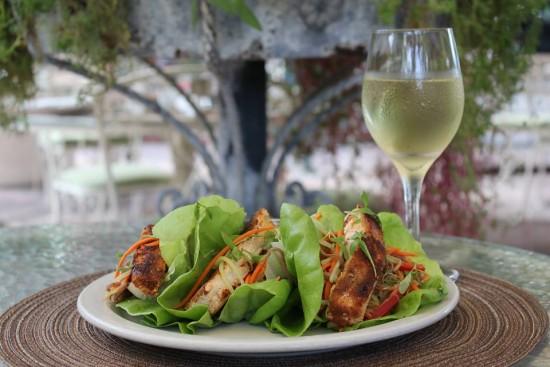 Mahi Mahi Lettuce Wraps – Bibb Lettuce, Soba Noodles, Cucumber, Carrot, Bean Sprouts, Fresh Mint, Lime, Ponzu & Peanut Sauce.