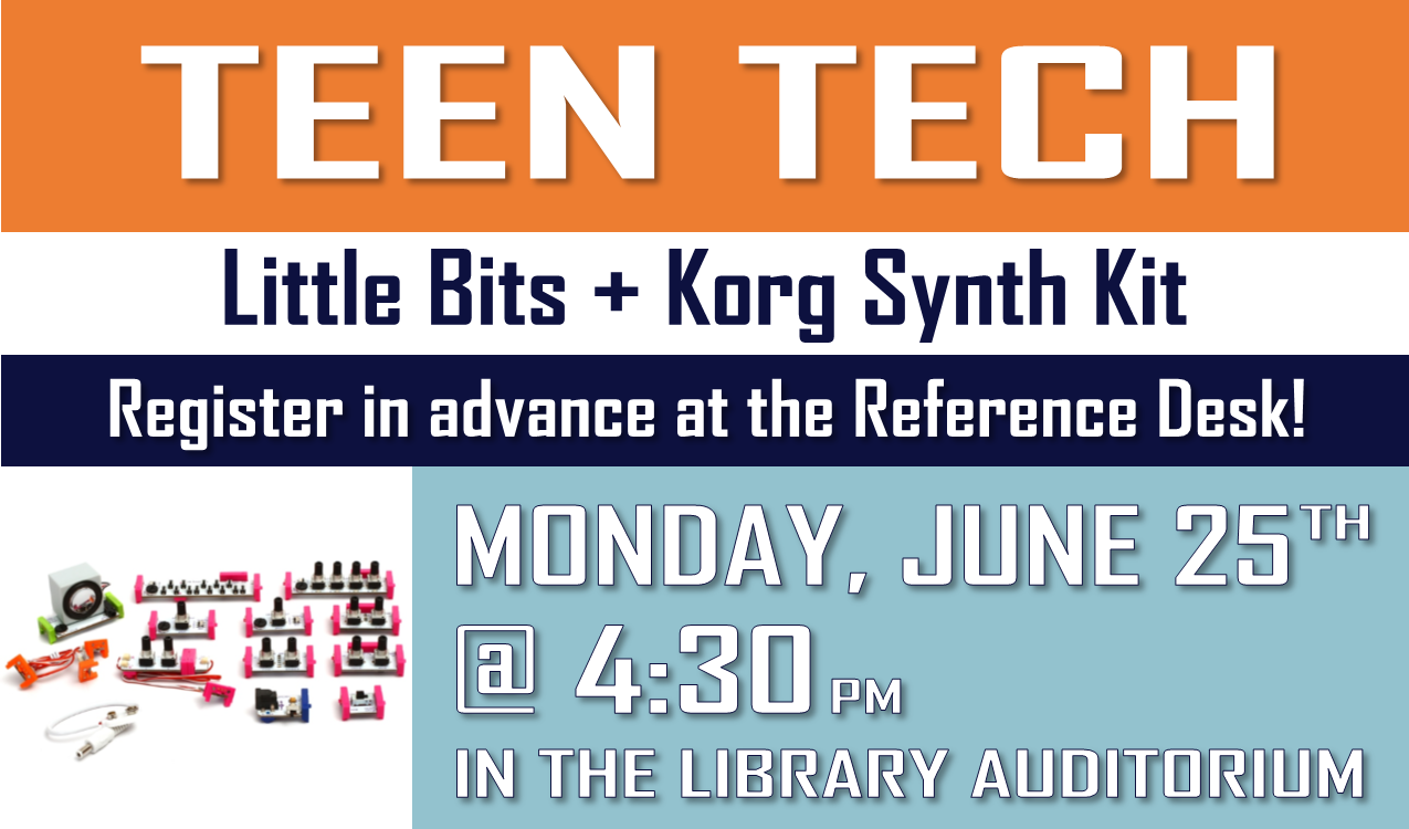 For rising 7th-12th graders.  Explore the science of sound and make sweet beats with a modular synthesizer with quick connect circuits, including keyboard, sequencer, oscillator, delay and more!