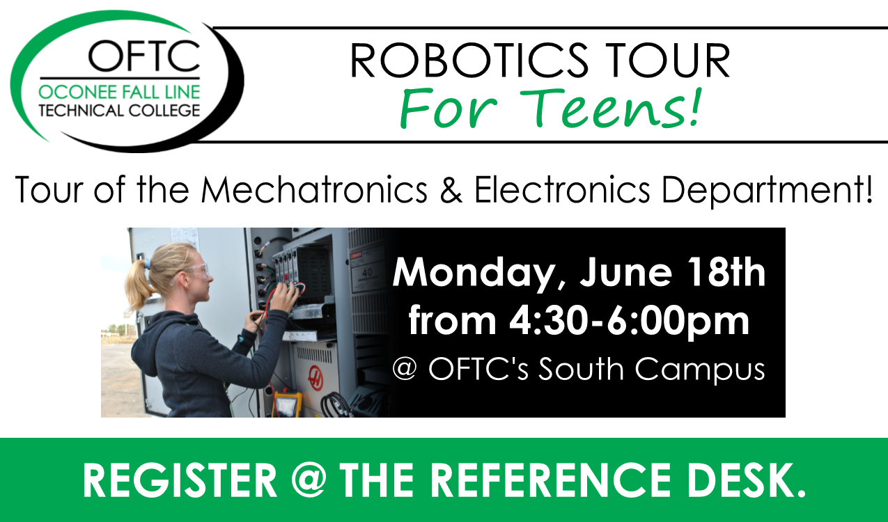 For rising 7th-12th graders.  Tour the Mechatronics and Electronics Department with Instructor, Lee Radney!  We will meet at OFTC at the Stewart Building. (It's located on the West Laurens Road side.)