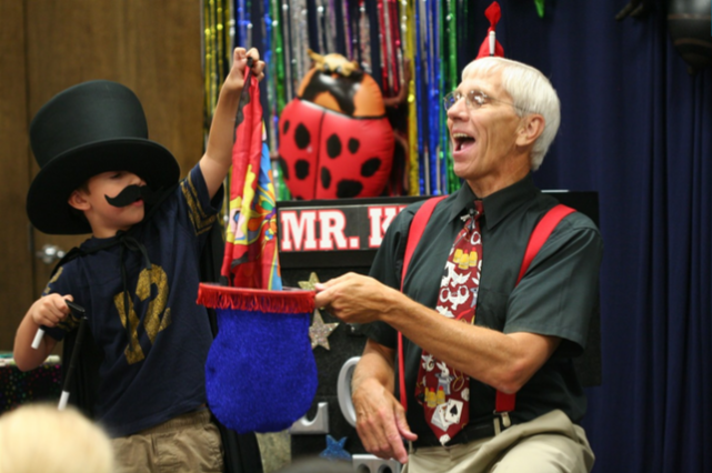 Mr. Karnok makes learning fun with magic and puppets!