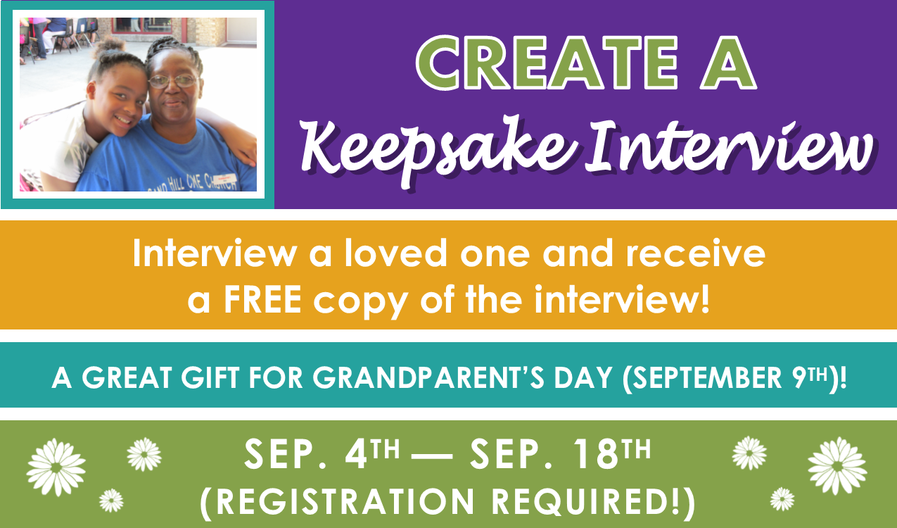 Interview a loved one to preserve their memories and experiences for future generations! All participants will receive a copy of their recordings. Call or visit the Reference Desk for more information and to reserve a time slot.