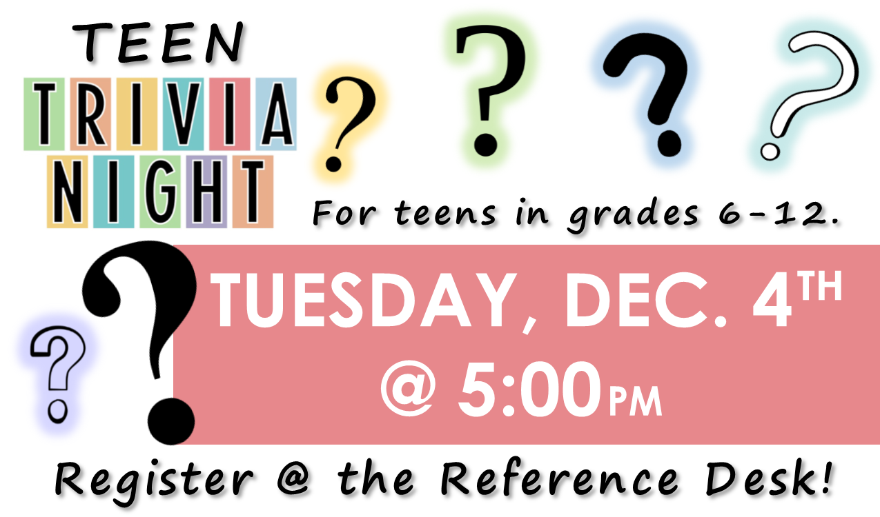Test your knowledge of various topics! You could win a prize! This event will take place in the Library Auditorium.
