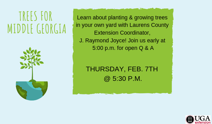 Learn about planting & growing trees in your own yard with Laurens County Extension Coordinator, J. Raymond Joyce! Join us early at 5:00pm for open Q&A.  This event will take place in the library auditorium.