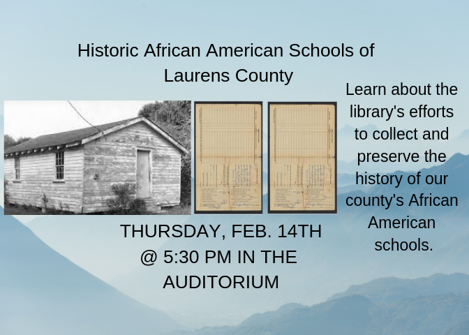 Learn about the library's efforts to collect and preserve the history of our county's African American schools.  This event takes place in the library auditorium.
