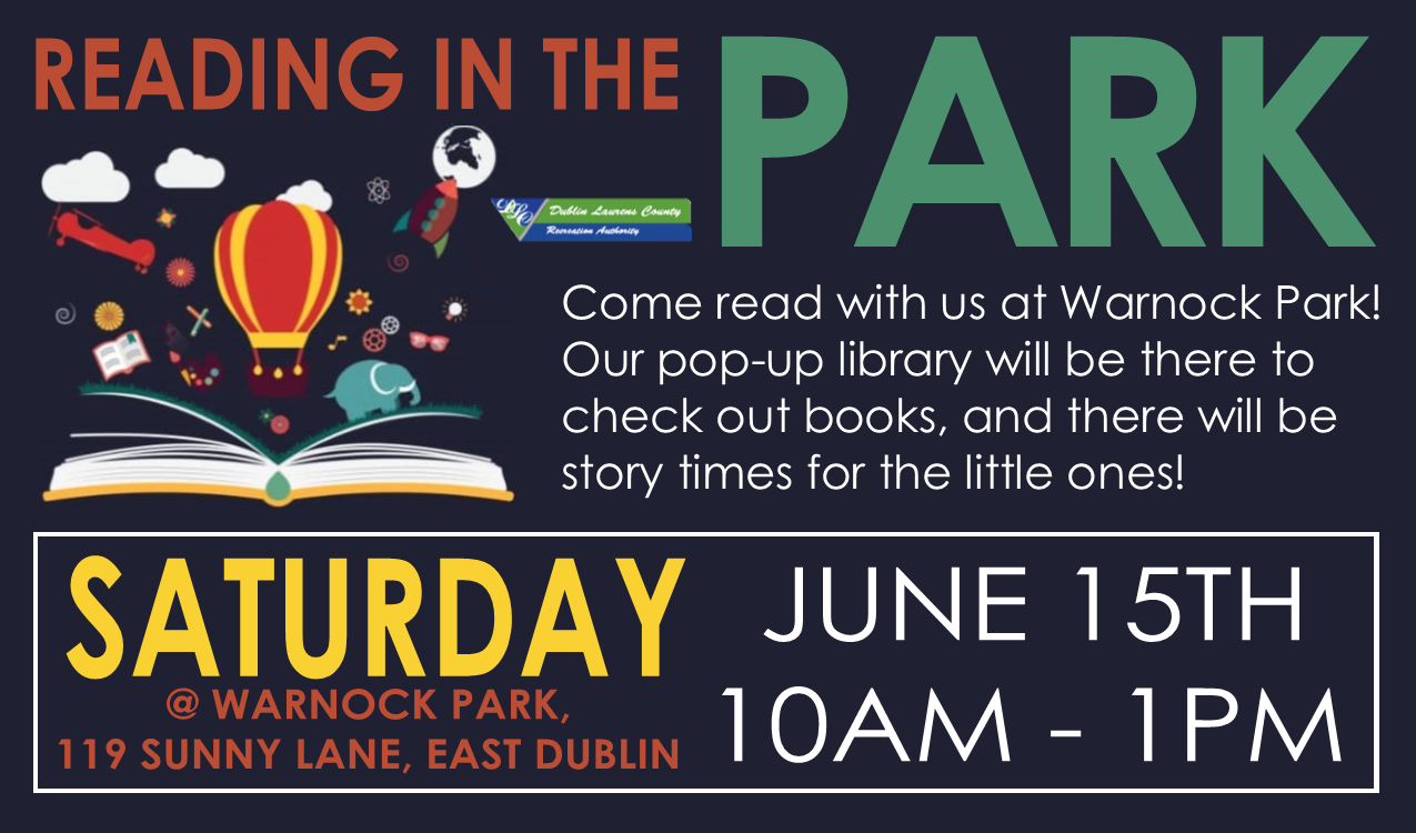 Come read with us at Warnock Park (in East Dublin)! Our pop-up library will be there to check out books, and there will be story times for the little ones! Dr. Seuss characters and your favorite superheros will also be there!