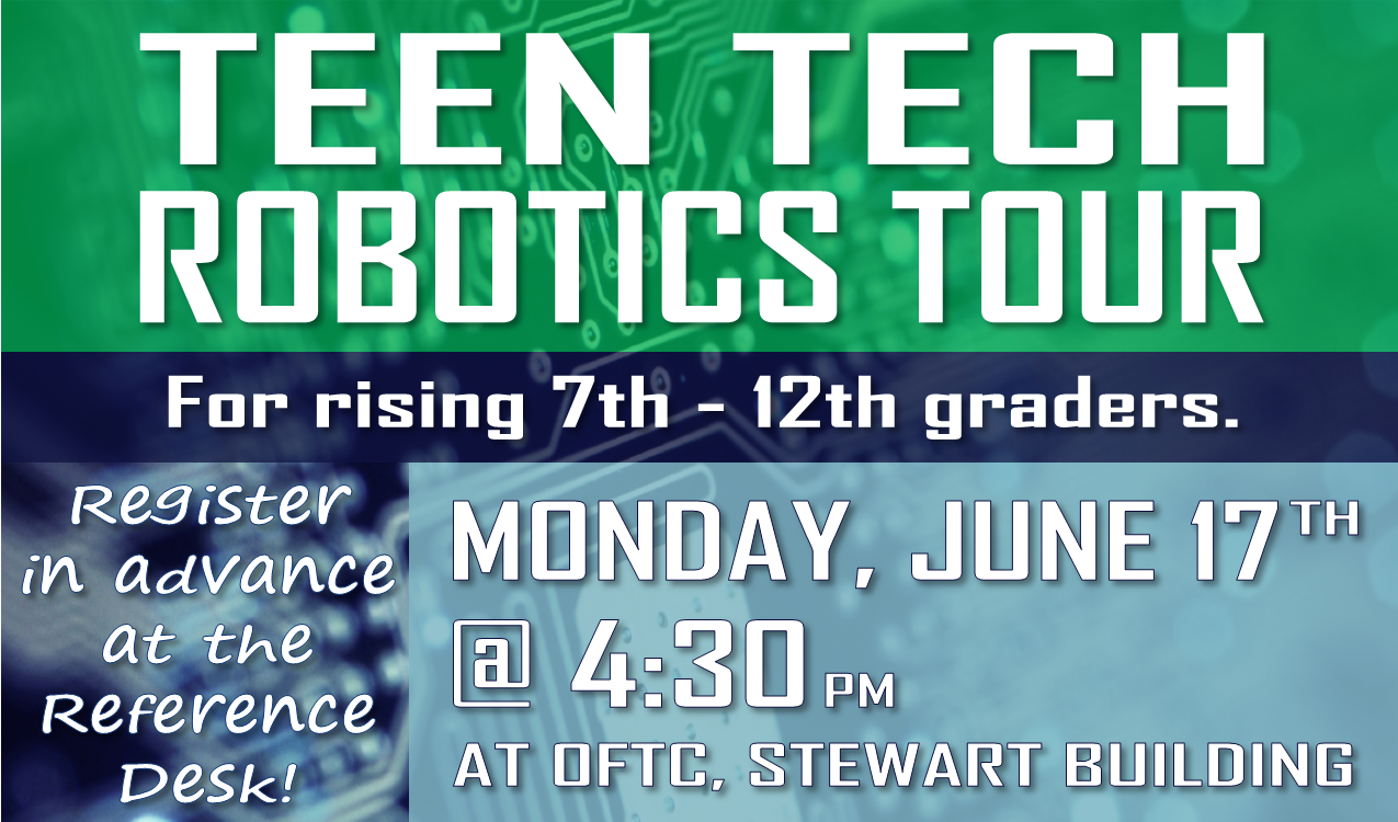 Visit OFTC to tour the mechatronics & electronics department! Register in advance at the reference desk.