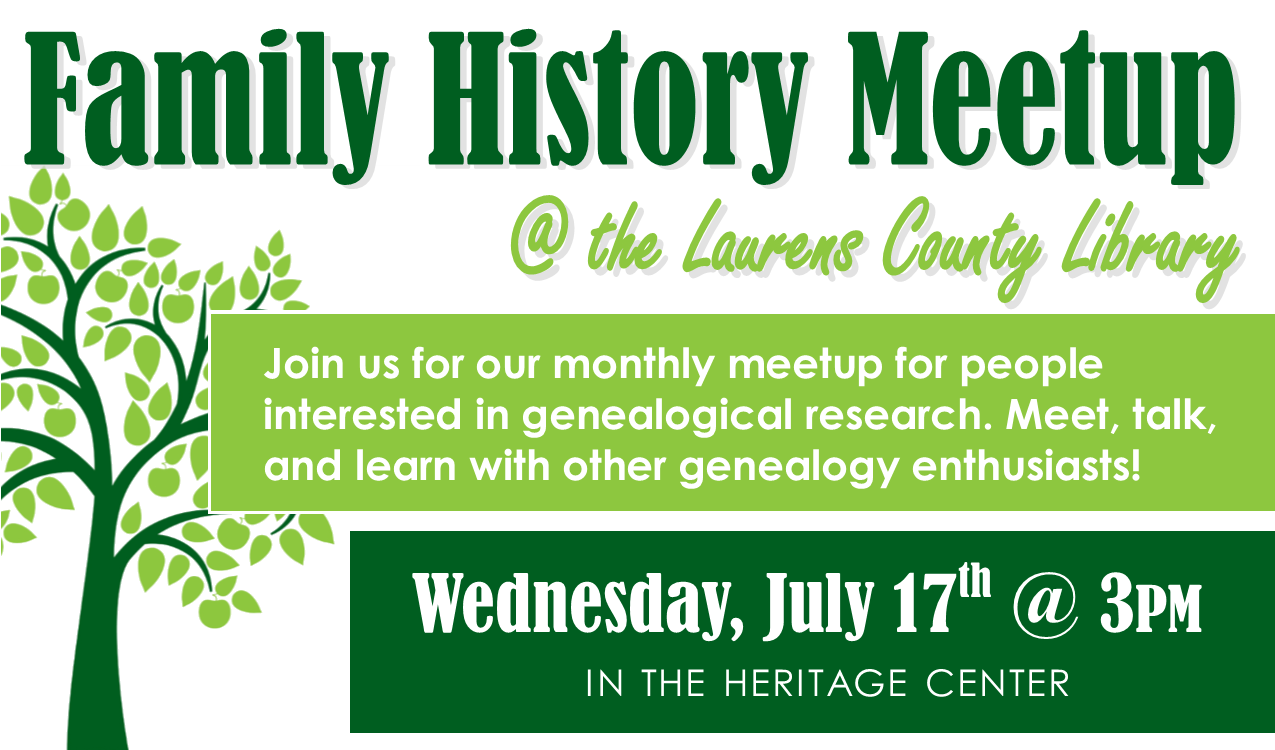 Join us in the Heritage Center to meet, talk and learn with other genealogy enthusiasts!