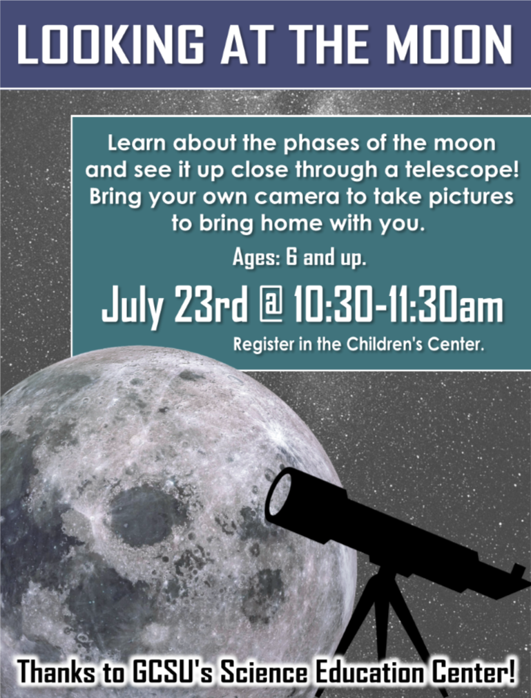 Learn about the phases of the moon and take a closer look through a telescope! For ages 6 and up. Register in advance in the Children's center.