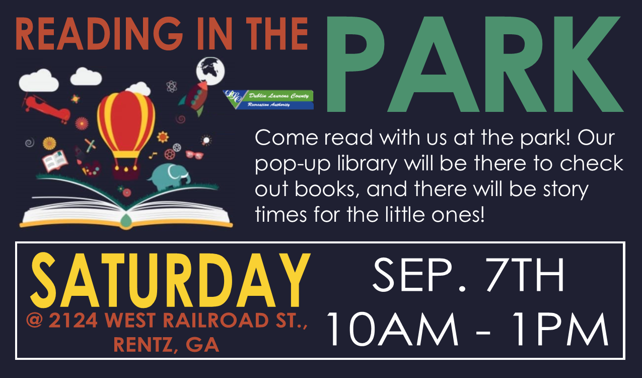 Come read with us at the park! Our pop-up library library will be there to check out books, and there will be story times for the little ones!