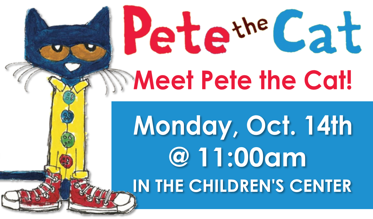 Pete the Cat from  Pete the Cat  books by James Dean and Eric Litwin will be here to visit with the little ones!