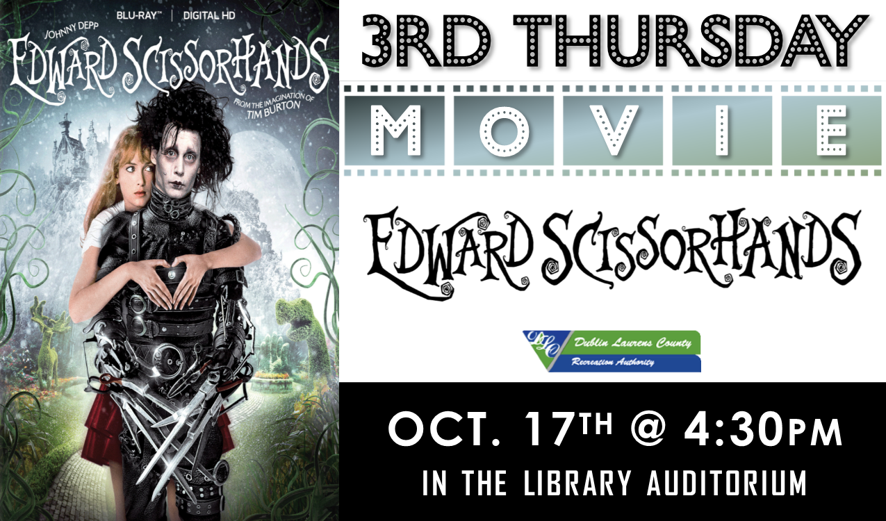 We will be watching the 1990 dramatic fantasy,  Edward Scissorhands ,  starring Johnny Depp and Winona Ryder. PG-13, 1 hr. 45 min. In partnership with DLCRA.