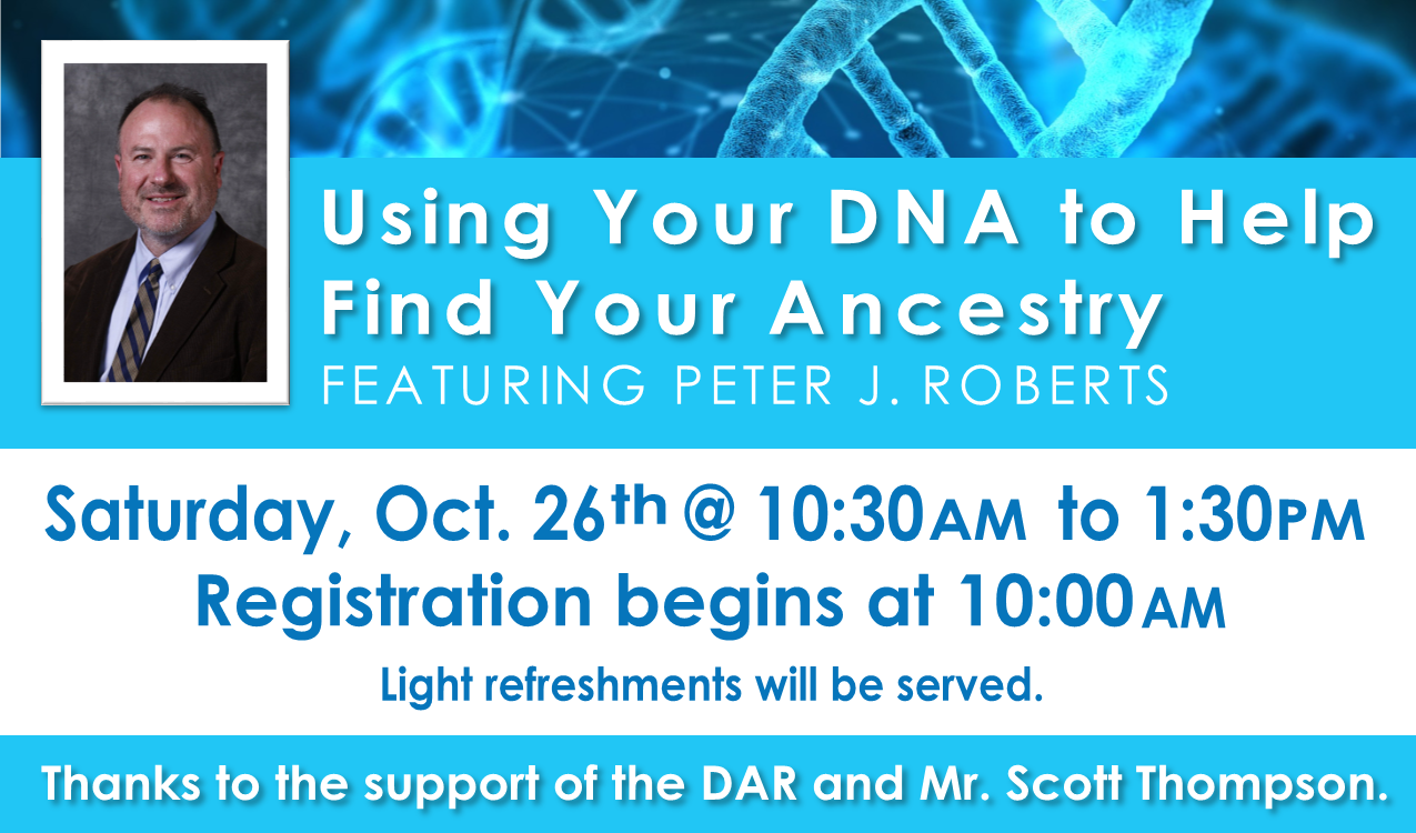 Gain an understanding of how to use different types of DNA to find family connections. Learn how DNA can confirm or refute family legends of ancestry and ethnic origins. Fundamental genetic genealogy concepts are presented, including benefits/limitations and how to automatically associate your DNA results with your ancestry. Registration and light refreshments will be available starting at 10am.