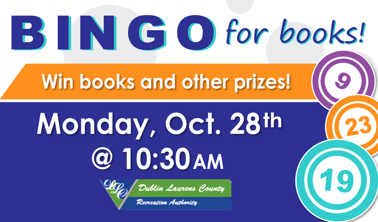 Come play bingo at the library! You could win books & more! Coffee will be served. Seats are limited. In partnership with DLCRA.