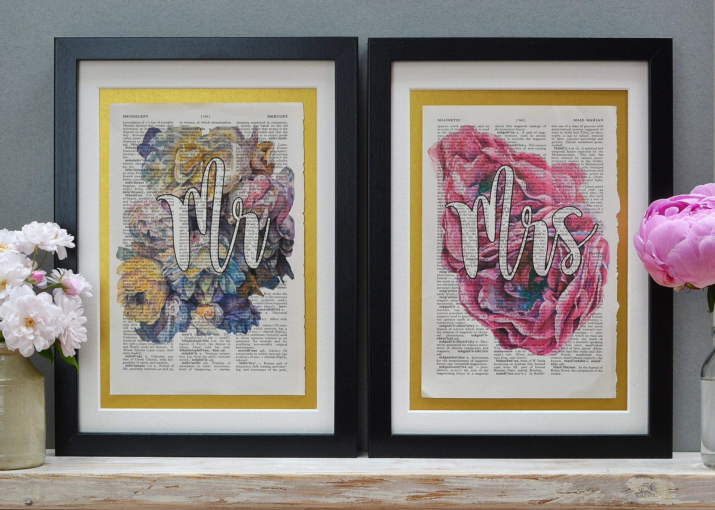 Lady Ebdon Prints Mr and Mrs Wedding Print