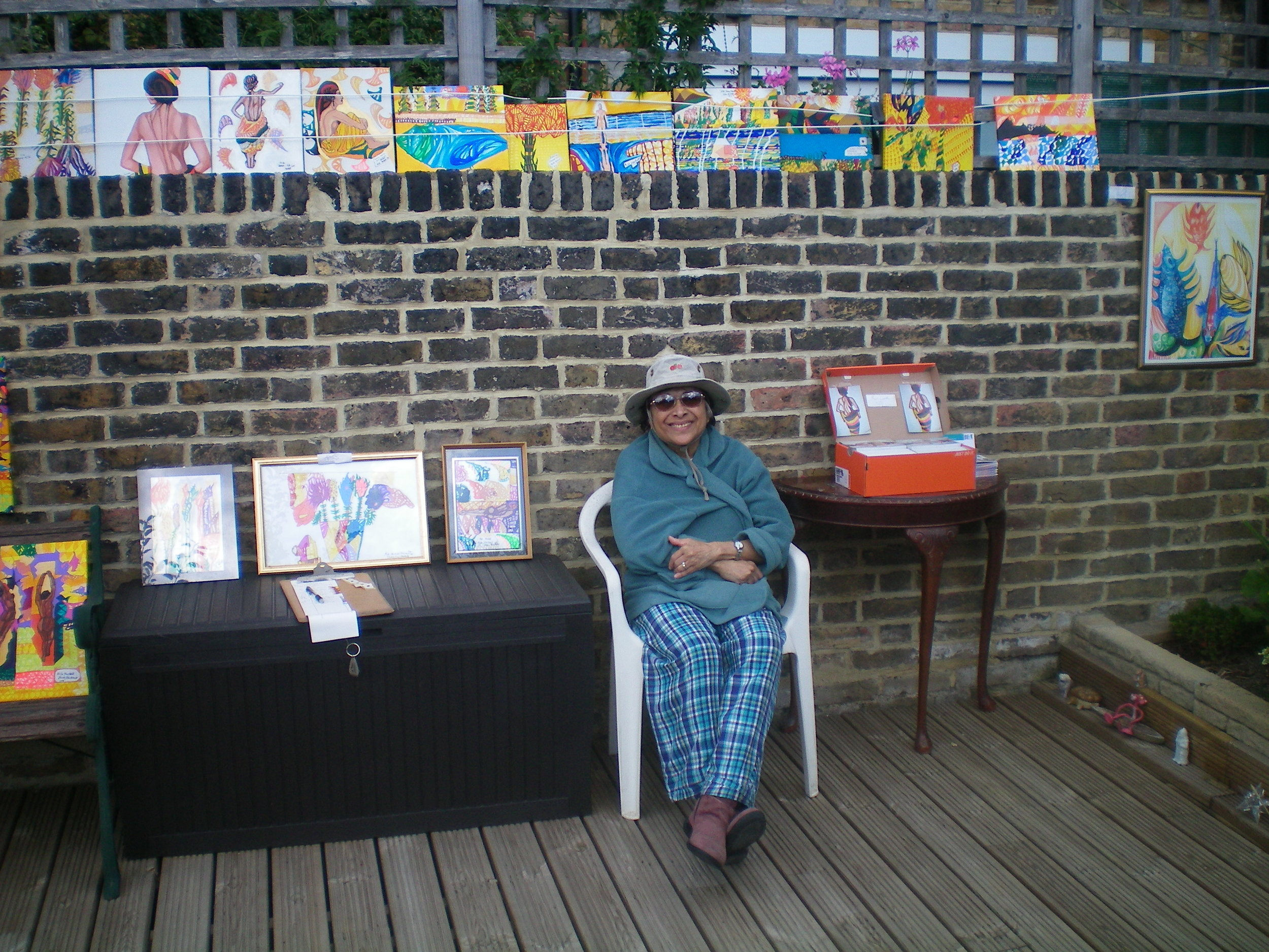 The Artist with her work