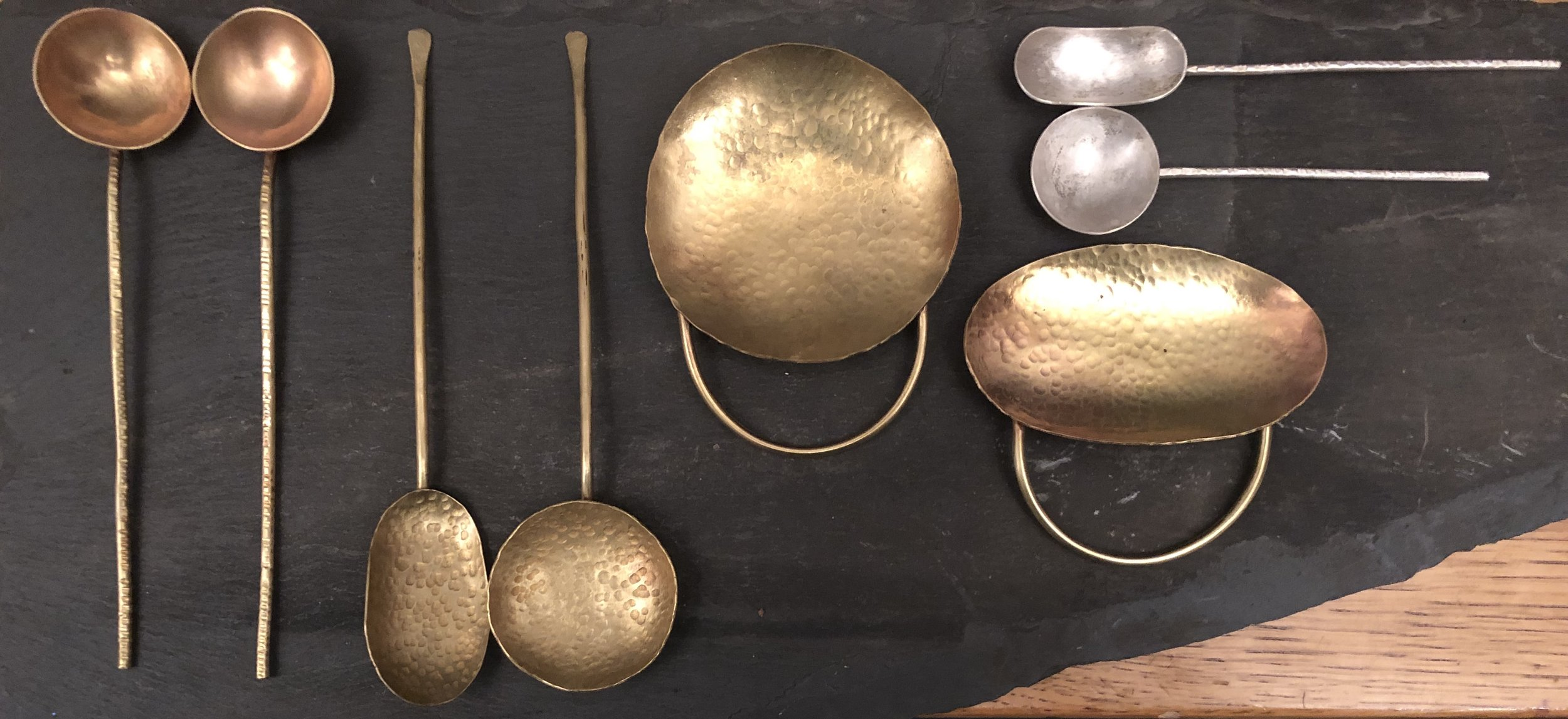 Handforged Brass and Sterling Silver Spoons
