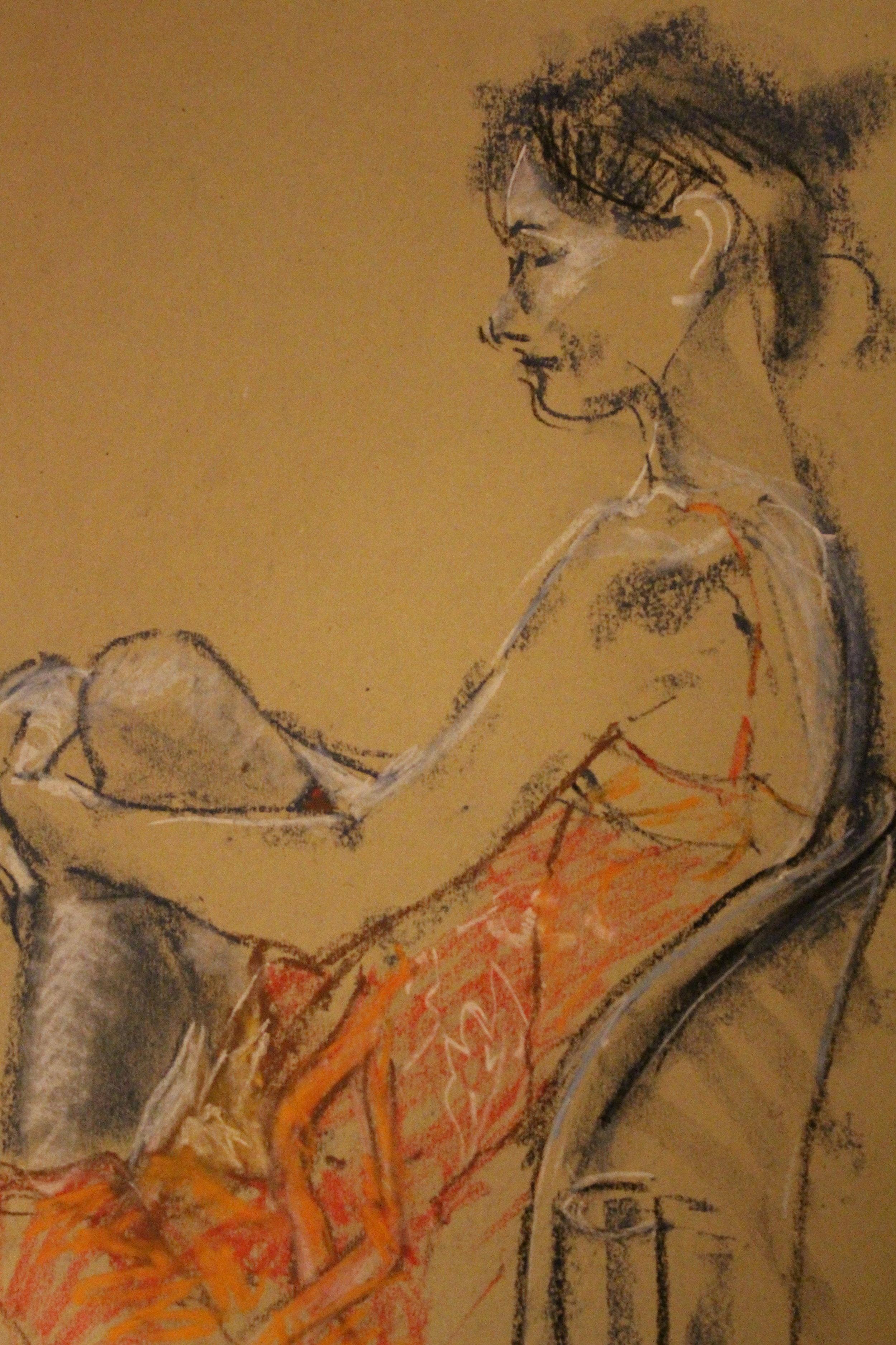 The Orange Summer Dress (Girl Seated)d)
