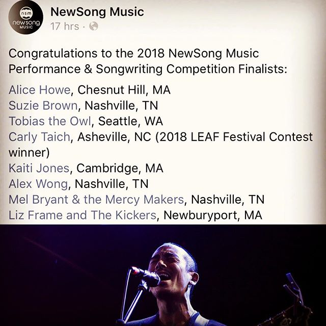 Hey this was a cool thing to wake up to this AM! Thanks @newsongmusic for selecting me as part of your 2018 competition! Huge congrats to all the finalists and nice to see #nashville repping hard🖤