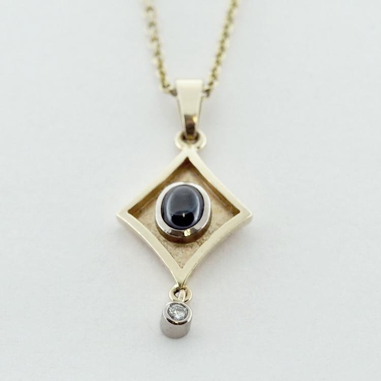 <b>Muse Pendant</b><br>$1,819<br>14K Yellow Gold<br>Blue Sapphire<br> 0.97ct, 1 Brilliant <br>Cut Diamond
