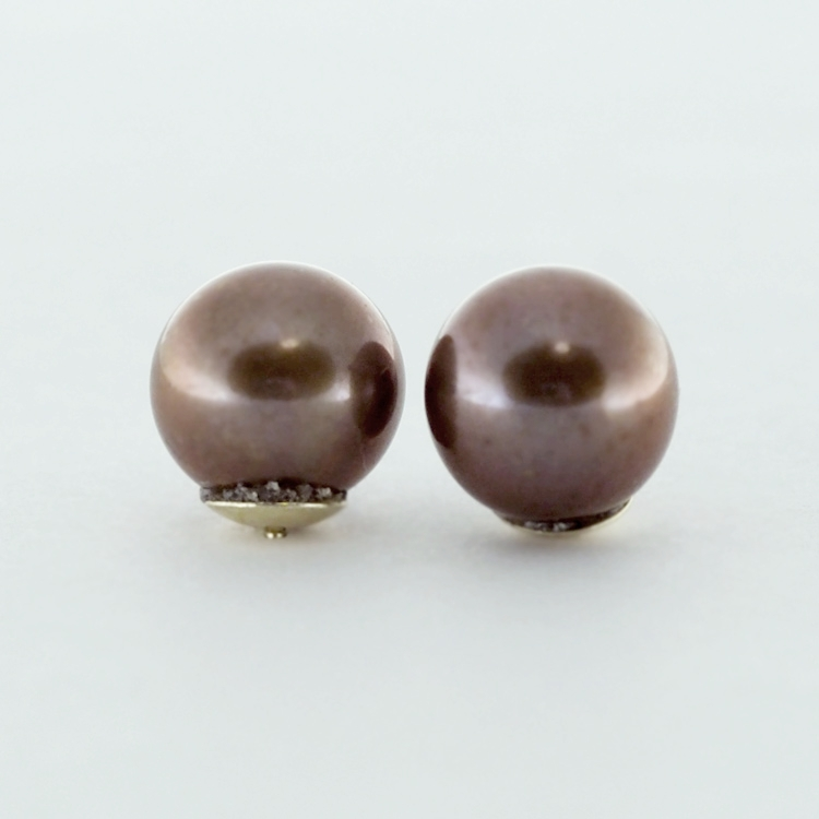 <b>Brown Pearls</b><br>$200<br>Fresh Water Pearls,<br>Brown, 8.5-9mm<br>14K Yellow Gold