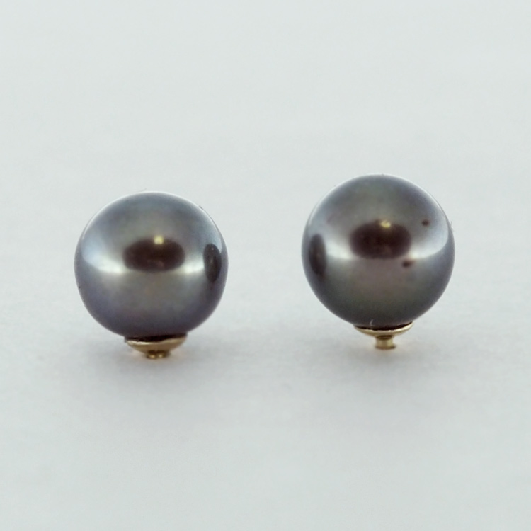 <b>Black Pearls</b><Br>$200<br>Fresh Water Pearls,<br>6.5-7mm, <br> 14K Yellow Gold