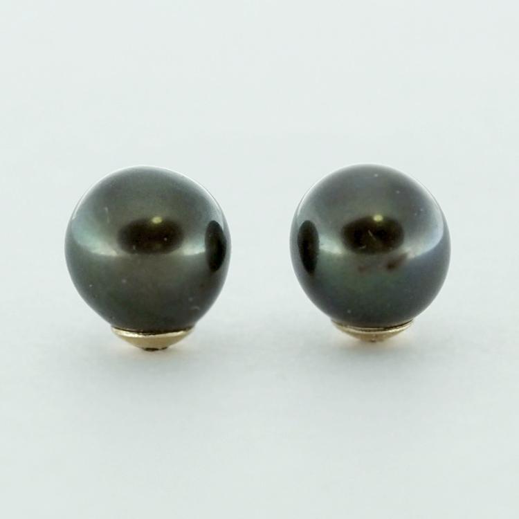 <b>Black-Green Pearls</b><br>$240<br>Fresh Water Pearls,<br>7.5mm-8, <br>14K Yellow Gold