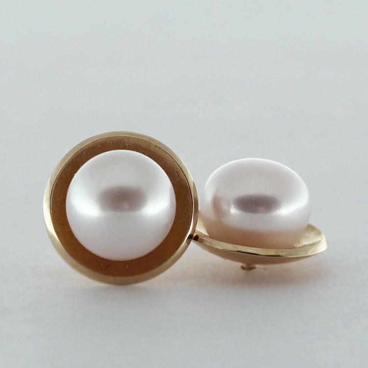 <b>Dish Pearls</b><br>reg.RT: $625/ LT-Special: $468<br>Fresh Water Pearls,<br>8-8.5mm <br> 14K Yellow Gold