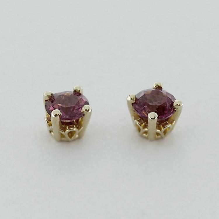 <b>Rhodolite Garnets</b><br>SOLD<br>14K Yellow Gold,<br> 5mm