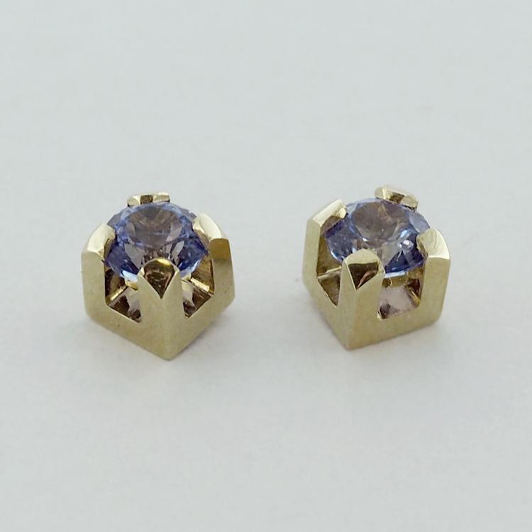 <b>Blue-Purple Tanzanites</b><Br>$1,914<br>18K Yellow Gold,<Br> TW: 1.19 ct