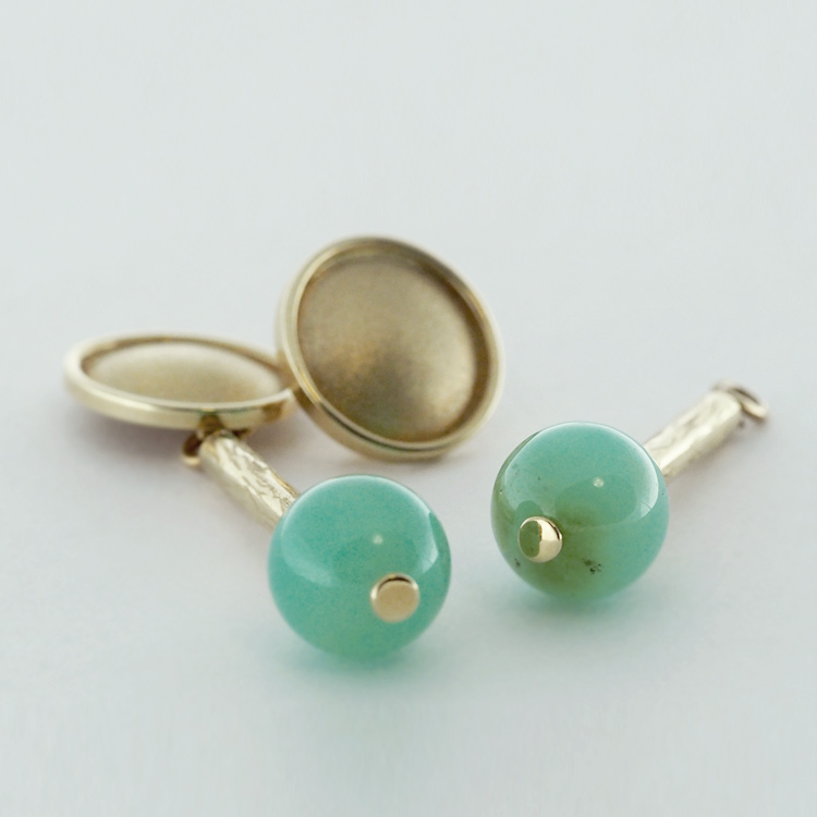 """<b>Chrysoprase Balls 10mm</b><br>$1,902<br>14K Yellow Gold<br>Handcrafted """"Two in One""""<br>Available: Set of 3 Items"""