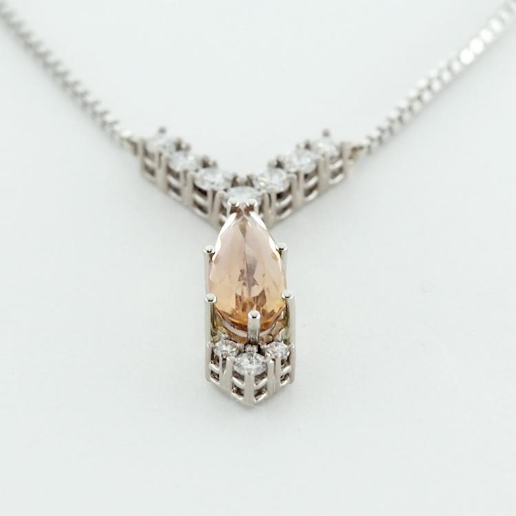 <b>Diamond & Imperial Topaz</b><br>reg.RT: $4,810/Special: $3,367<br>Imperial Topaz 1.55ct<br>10 brilliant cut Diamonds<br>18/19K White Gold