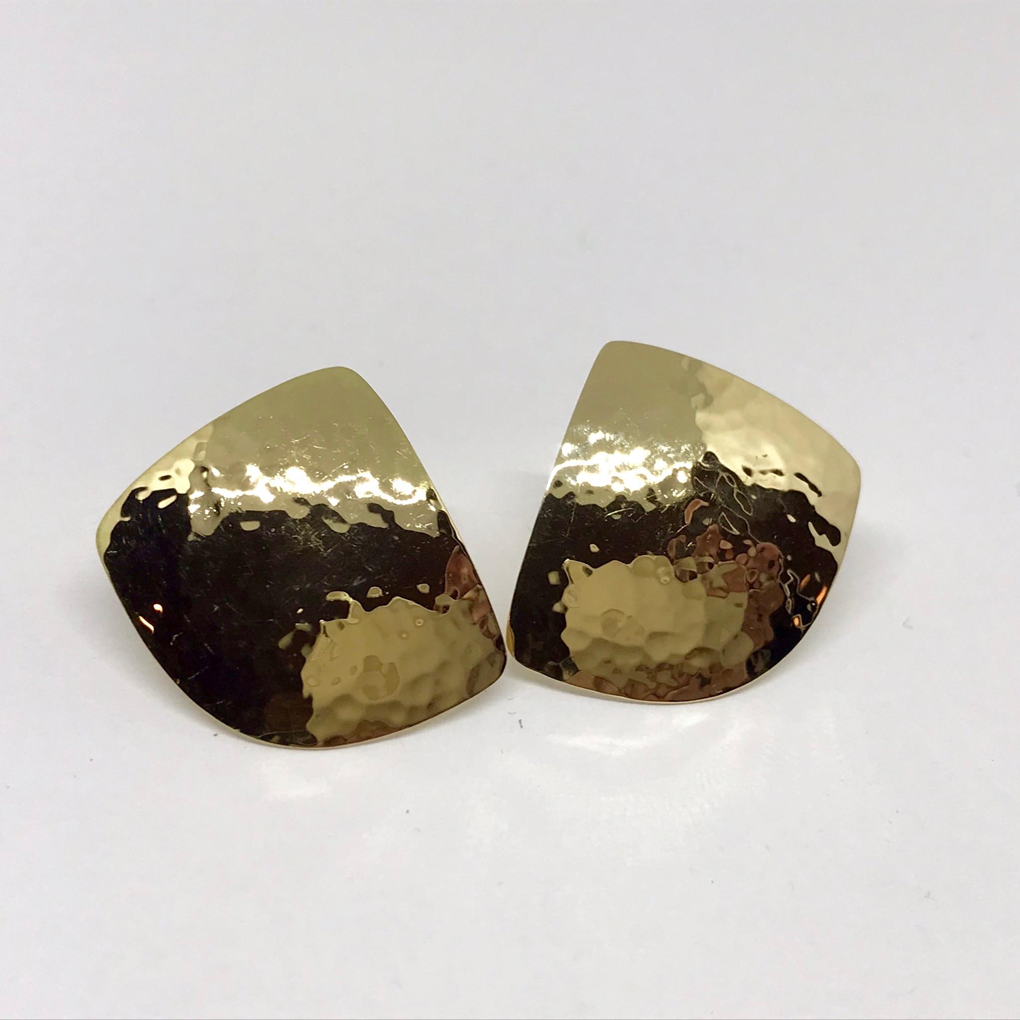 <b>Textured Ear Studs</b><br>reg.RT: $1,153/LT-Special: $865<br>18K Yellow Gold, <br> Handmade, <br>Designer Series