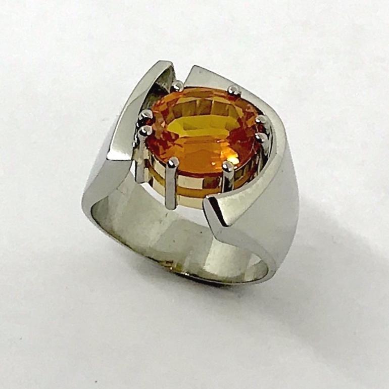 NEW  Orange Sapphire Ring