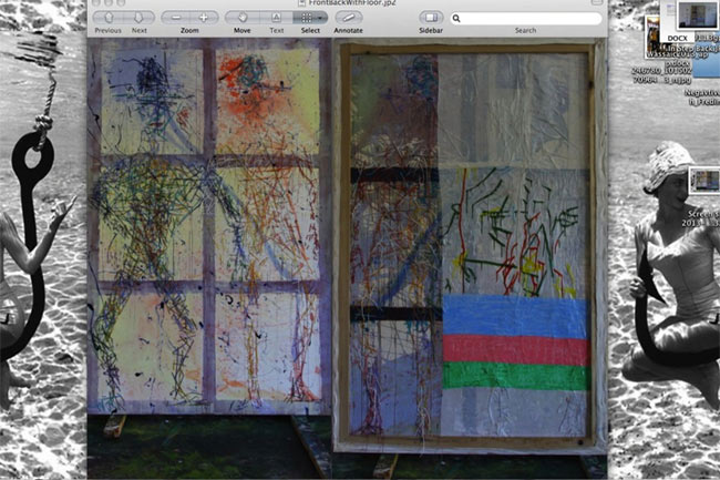 "Dyeing, Merging, Multitasking, Digital collage with studio shots of front and back of Dona Nelson's painting In Step, 2013, 90""x60"""