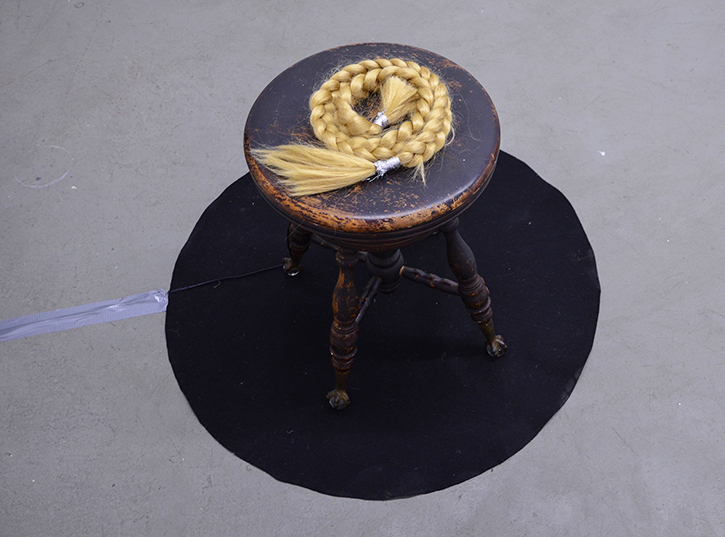 MARIA HUPFIELD: Artifact (Blond braid, piano stool and circle of felt), 2014.