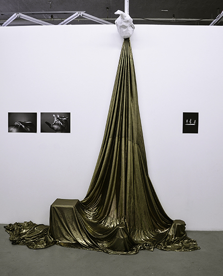 "RACHEL MASON: artifacts from performance (Gold spandex, papier mache headpiece, 2 x 11x14"" photographs, 8.5 x 11 collage) , 2014."