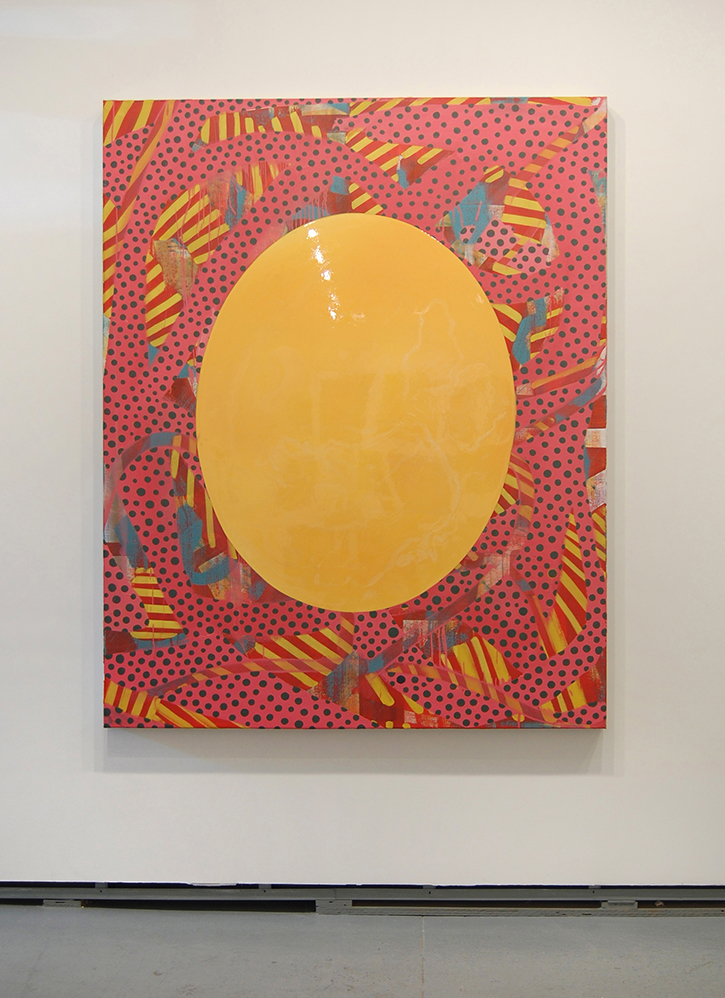 ANDY CROSS: Mirror Disk, Oil, resin, canvas on panel, 48 x 60 inches, 2014