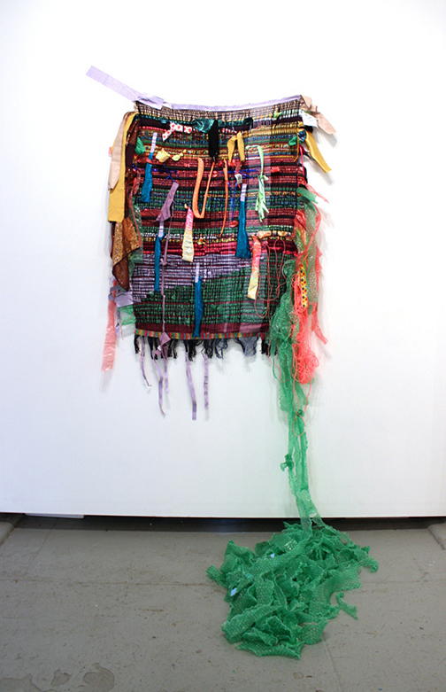 DENISE TREIZMAN: Weave Done It!, 2015, handmade woven textile using discarded materials (fabric, plastic, duct tape, others), 76 x 68 x 42 inches (or variable)