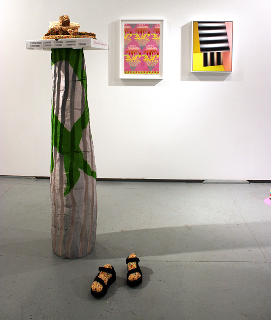 GABRIELLE ROTH: Objects for Becoming a Column, 2015, Cereal, Marshmallow, Butter, PVA, Incense, found lighter, plastic flowers, pizza boxes, Teva sandals, dimensions variable; ROBERT OTTO EPSTEIN, Full Length Coat, 2013, color pencil on hand gridded paper, 20 x 15 inches; and ERIN O'KEEFE, The Flatness #5, 2013, archival pigment print, mounted on Sintra, framed in white wood, 20 x 16 inches, Edition 1 of 3