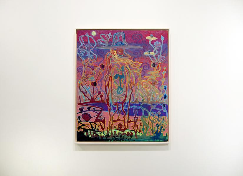 "JJ MANFORD: Full Moon Wanderer, 2016, Acrylic, gouache, wax pastel on polypropylene, mounted to panel 24"" x 20""; framed"