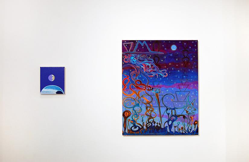 "MATTHEW F. FISHER: New Moon, 2016, acrylic on canvas over panel. 8 3/4"" x 8"" (left) / JJ MANFORD: Twilight Wanderer, 2016, Acrylic, gouache, wax pastel on canvas over panel (right)"